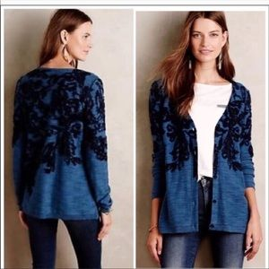 Moth | Blue Floral Embroidered Cardigan Sweater